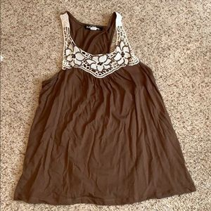 Tops - Brown Lace Detailed Cami
